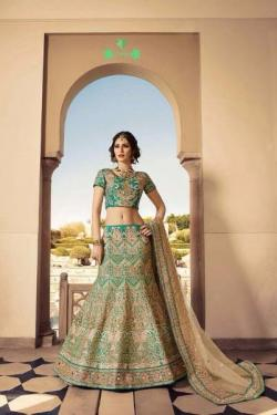 Bottle green lehenga