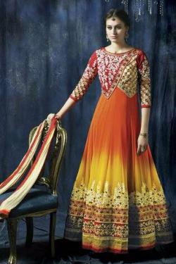 ORANGE & YELLOW ANARKALI